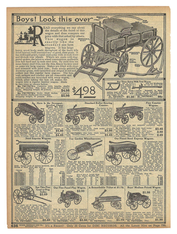 Antique Toy Wagons 1914 AD Ten Wagon Models Shown Described Original Period Sears 1914 Catalog Ad Page - Paperink Graphics