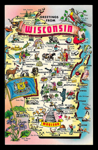 Map Greetings Postcard Wisconsin Icon Illustrated Cities Towns Flag Bird Violet WI PC