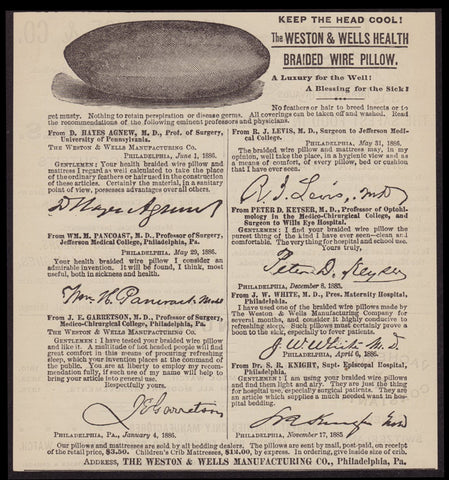 1886 Antique AD Weston & Wells Manufacturing PA, Health Braided Wire Pillow a25