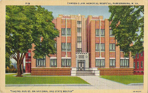 Camden Clark Memorial Hospital Postcard West Virginia Parkersburg WV PC