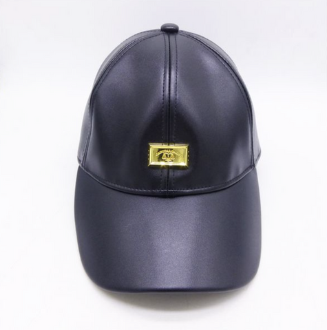 POPPA WAS A ROLLIN' STONE: BLACK VEGAN LEATHER DAD HAT