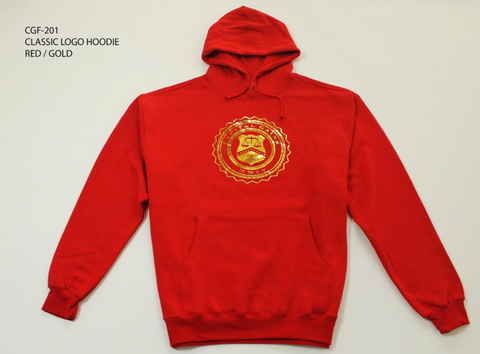 CLASSIC LOGO HOODIE: RED/GOLD