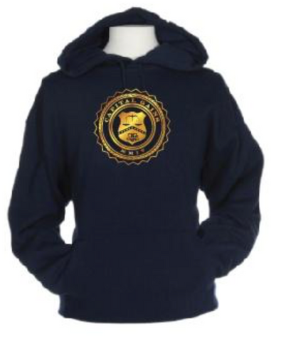 CLASSIC LOGO HOODIE: NAVY/GOLD