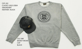 CLASSIC LOGO CREWNECK SWEATSHIRT: HEATHER GREY/BLACK