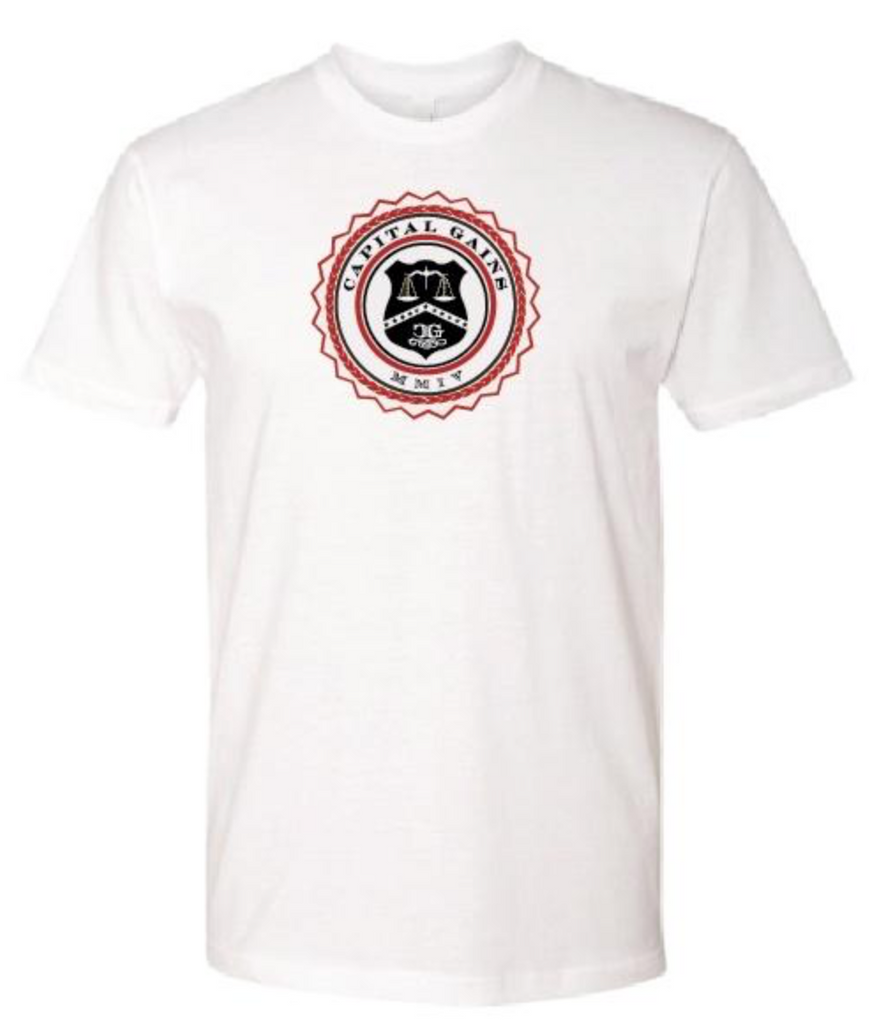 TWO-TONE CLASSIC LOGO WHITE TEE - RED/BLACK