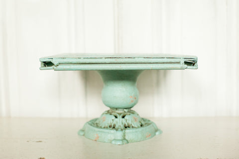 Metal Pedestal - Distressed Blue