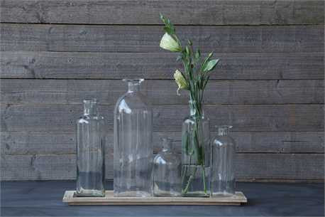 Wood Tray with 5 Glass Vases