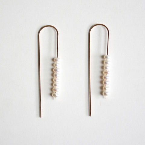 Long Arc Threader Earrings - Small Multiple Pearls