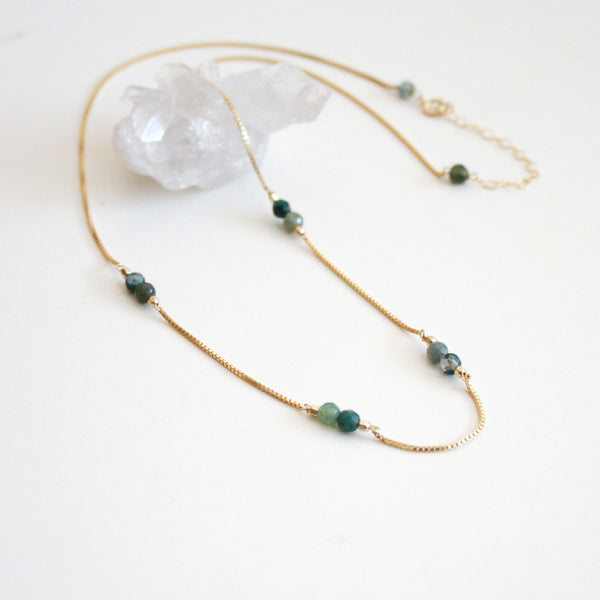 Green Gemstone Necklace - Moss Agate