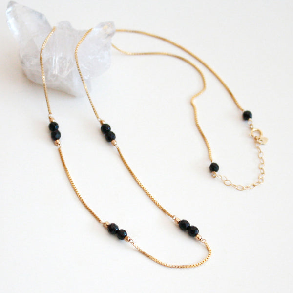 Black Gemstone Necklace - Onyx