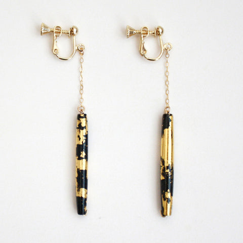 Gold Dangle Clip On Earrings - Black Tube