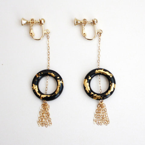 Dangle Clip On Earrings - Black