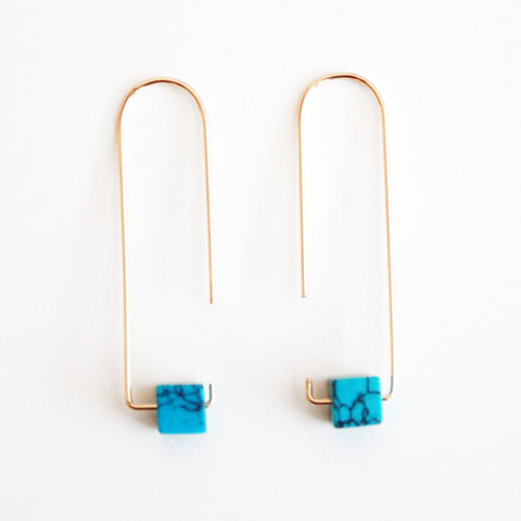 Long Hook Earrings - Gemstones