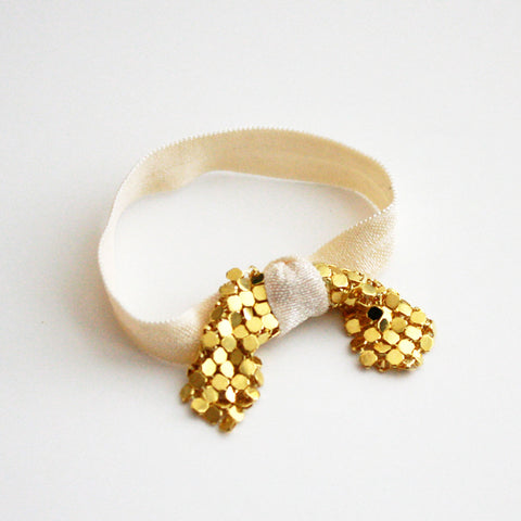 Metal Bow Hair Tie Bracelet in Gold Bow and Ivory Elastic