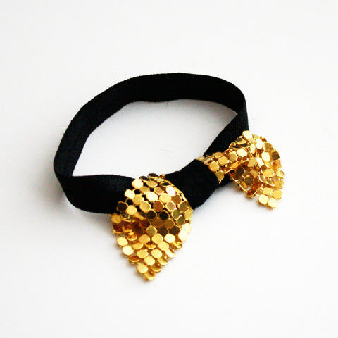 Metal Bow Hair Tie Bracelet in Gold Bow and Black Elastic