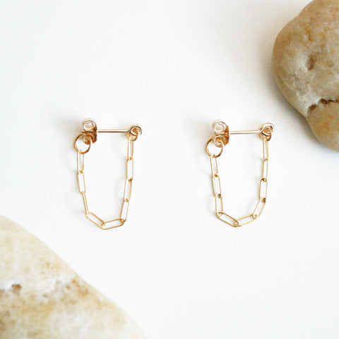 Chain Hoop Stud Earrings