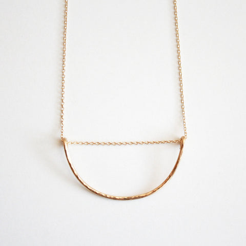 handmade gold filled hammered necklace
