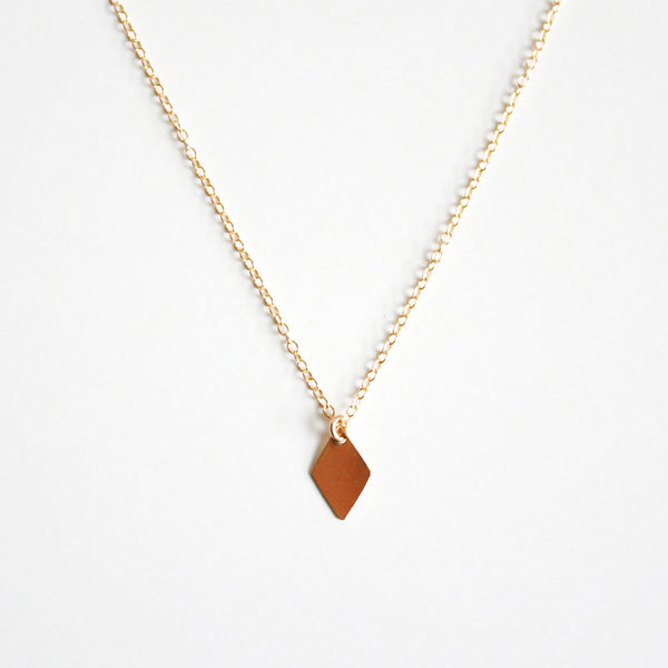 14k Gold Filled Diamond Shaped Charm Necklace