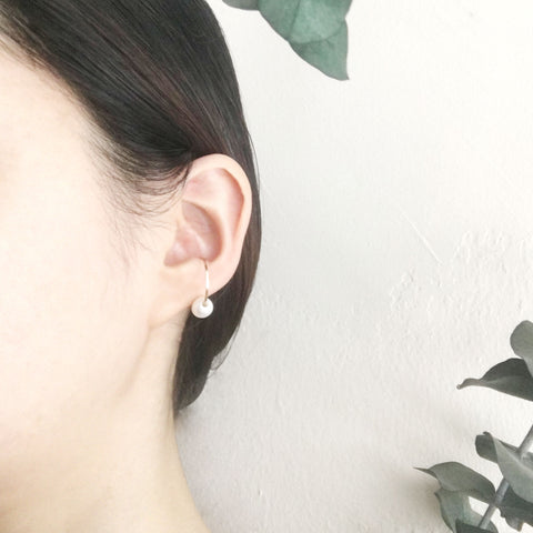 gold hoop ear cuff white pearl