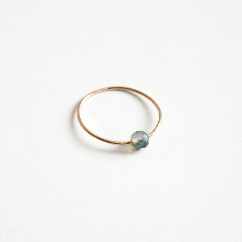 Gemstone Hammered Ring - Moss Agate