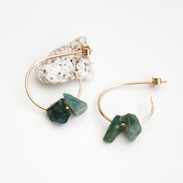 Gemstone Hoop Earrings - Moss Agate