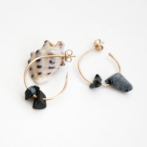 Gemstone Hoop Earrings - Snowflake Obsidian