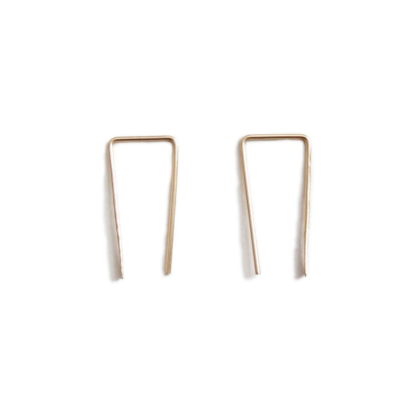 14k yellow gold long bar earrings