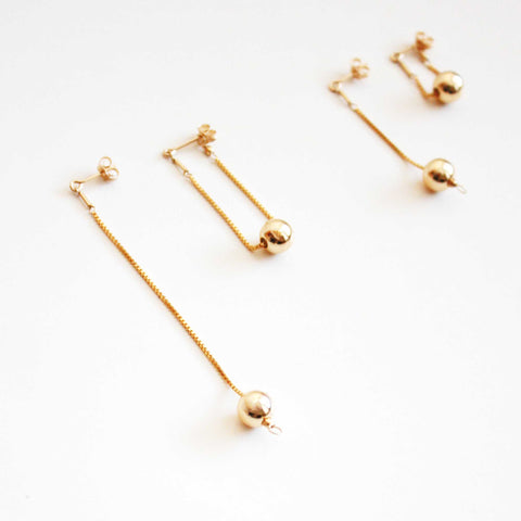 Versatile Dangle Hoop Earrings - Gold Balls