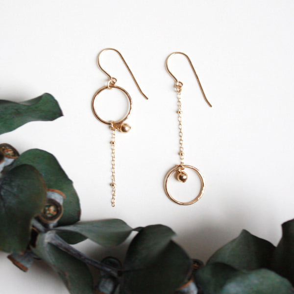 Long Asymmetrical Dangle Earrings - Gold Beads