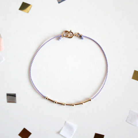 Gold Round and Tube Beads Silk Cord Bracelet