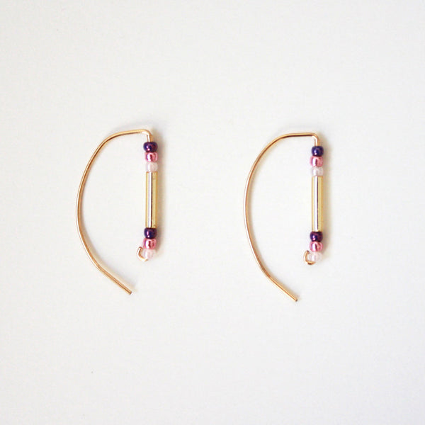 Beads Bar Threader Earrings - Semi Circle Shaped - Pink