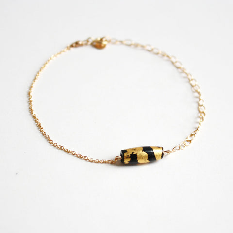 Gold Leaf Bracelet - Black Tube