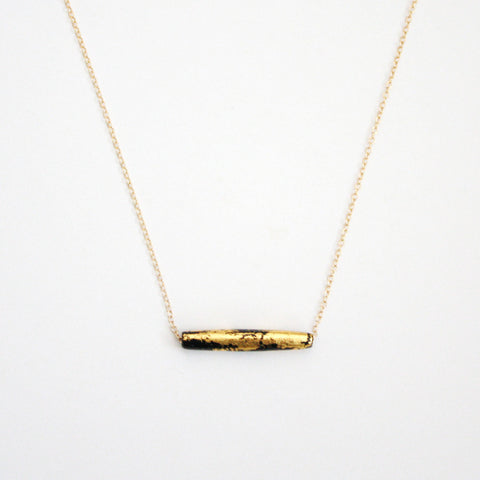 Gold Leaf Necklace - Black Tube - Short