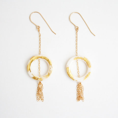 Gold Leaf Earrings - Ring & Tassel
