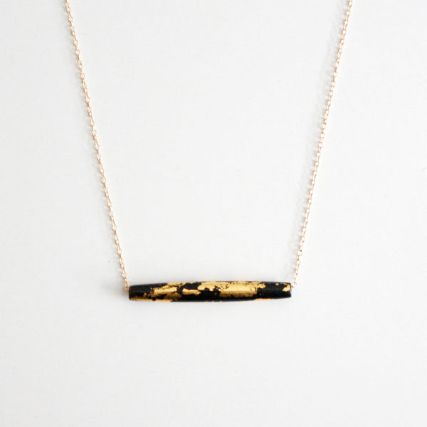 Gold Leaf Necklace - Black Tube - Long