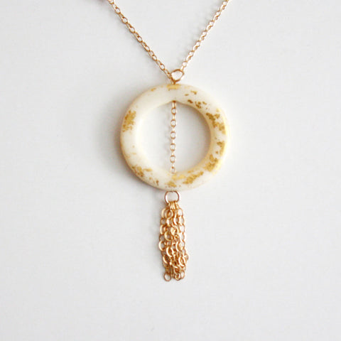 Gold Leaf Necklace - Ring & Tassel