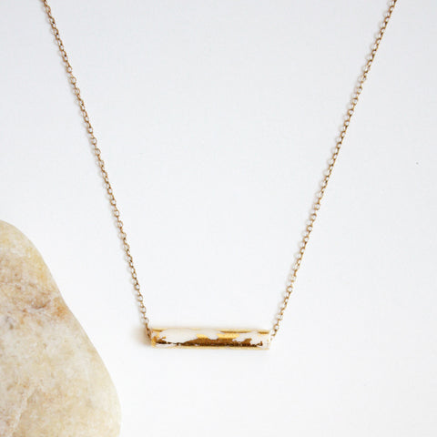 Gold Leaf Necklace - White Tube