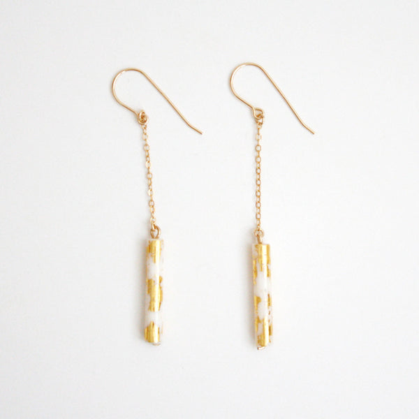 Gold Leaf Earrings - White Tubes