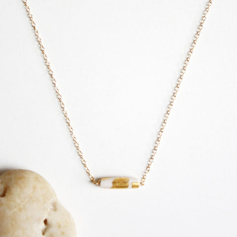 Gold Leaf Necklace - White Tube - Short