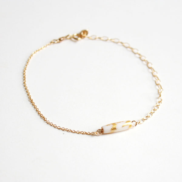 Gold Leaf Bracelet - White Tube
