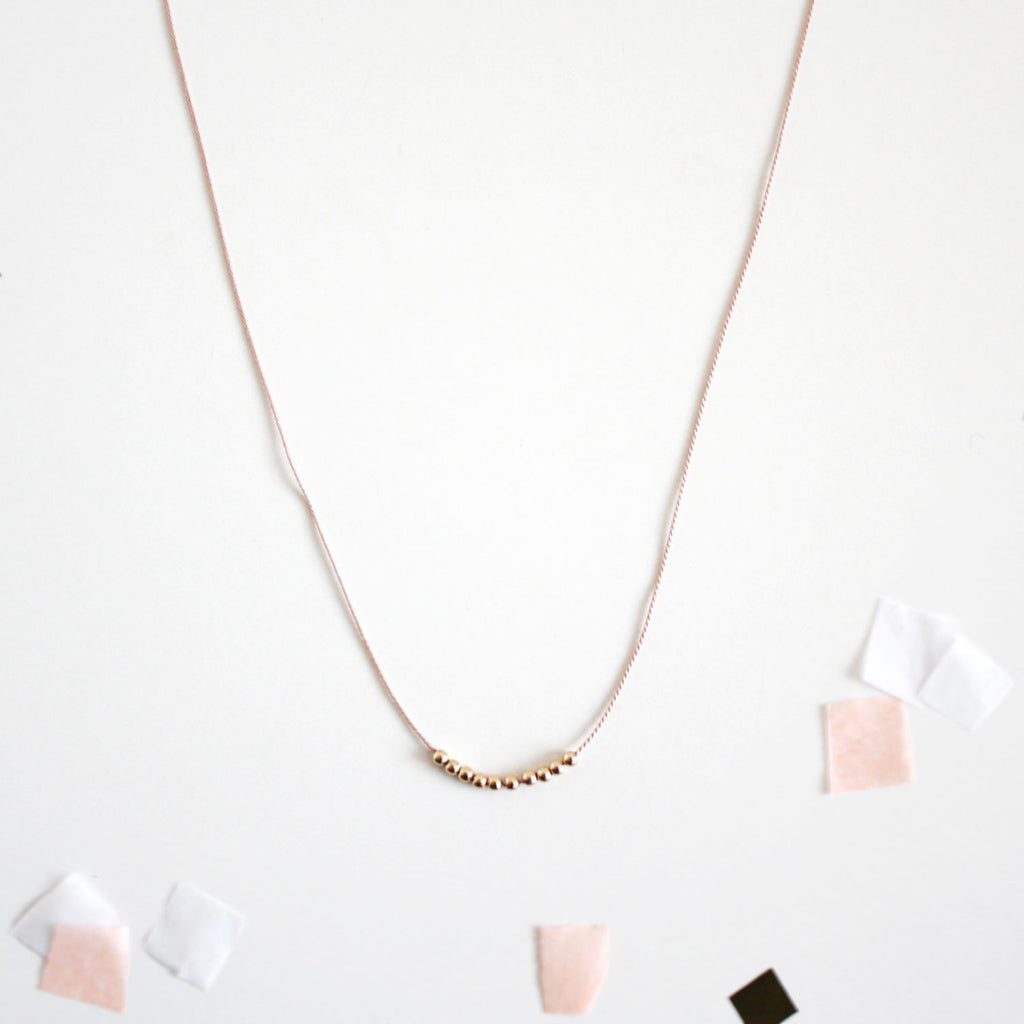 product handmade silk pink gold set pj thread index necklace