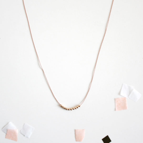Tiny Gold Beads Silk Cord Necklace