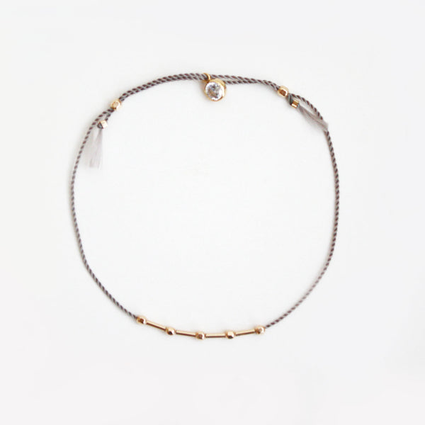 14k Gold Adjustable Faceted and Tube Beads Bracelet
