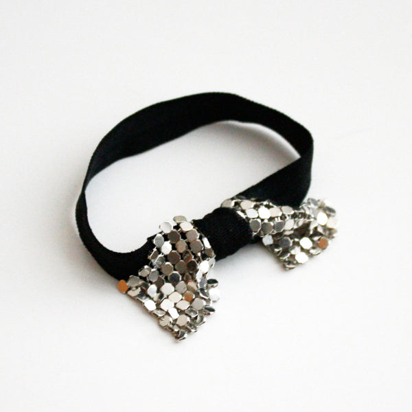 Metal Bow Hair Tie Bracelet in Silver Bow and Black Elastic