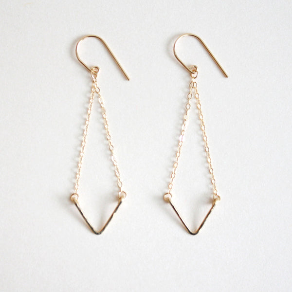 Hammered Dangle Earrings - Triangle