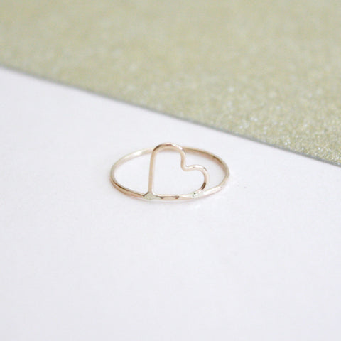 Gold Heart Hammered Ring