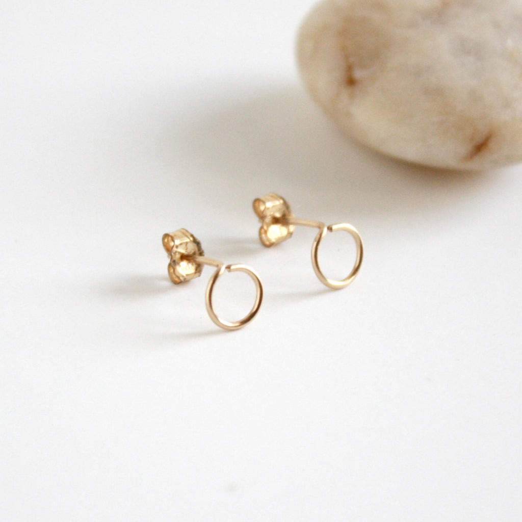 products earrings gold vrai web solid close oro minimalist jewelry simple and elegant stud yellow up rose circle