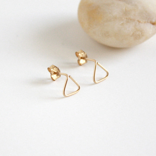 Triangle Stud Earrings - 14k Gold Filled