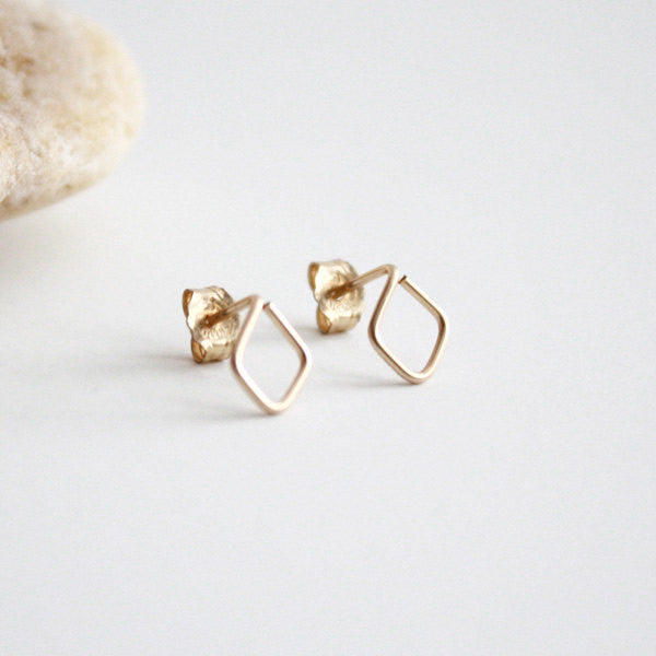 Diamond Shaped Stud Earrings - 14k Gold Filled