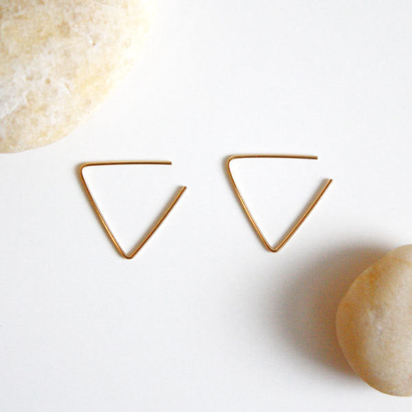 Hoop Earrings - Triangle - 14k Gold Filled